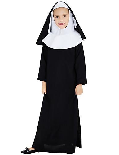 preiswerte Kostüme für Erwachsene-Nonne Cosplay Kostüme Austattungen Kinder Mädchen Cosplay Halloween Halloween Fest / Feiertage Polyester Schwarz Karneval Kostüme / Kleid / Kopfbedeckung