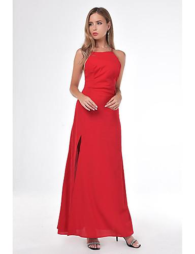 voordelige Maxi-jurken-Dames Standaard Schede Jurk - Effen, Split Maxi Zwart Rood