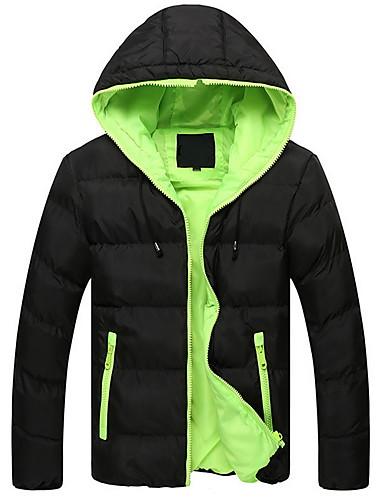 levne Pánské kabáty a parky-Pánské Jednobarevné S vycpávkou, Polyester Černá / Oranžová / Vodní modrá US32 / UK32 / EU40 / US34 / UK34 / EU42