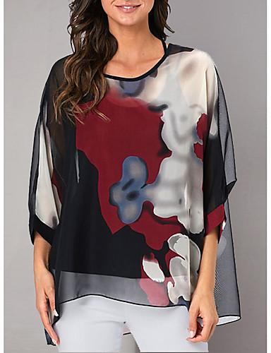 billige Dametopper-T-skjorte Dame - Blomstret Bohem Svart