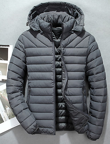 levne Pánské kabáty a parky-Pánské Jednobarevné S vycpávkou, Polyester Černá / Fialová / Armádní zelená US32 / UK32 / EU40 / US34 / UK34 / EU42