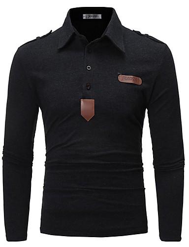 levne Pánská polo trika-Pánské - Jednobarevné Business / Elegantní Polo Černá