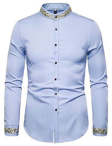 voordelige Herenoverhemden-Heren Vintage Geborduurd Overhemd Effen Wit Zwart