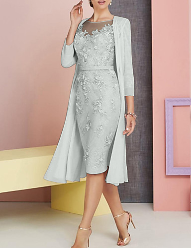 Knee Length Mother Of The Bride Dress Lace Satin Jacket Wedding Guest Gown