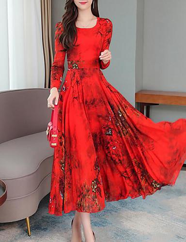 Damen Midi Rote Grün Kleid Elegant Street Schick A-Linie ...