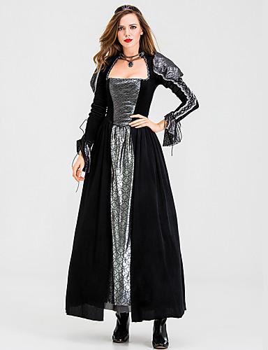 preiswerte Kostüme für Erwachsene-Hexe Kleid Cosplay Kostüme Party Kostüme Erwachsene Damen Cosplay Halloween Halloween Fest / Feiertage Baumwolle / Polyester Mischung Schwarz Damen Karneval Kostüme
