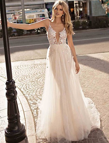 cheap Wedding Dresses-A-Line V Neck Court Train Lace / Tulle Spaghetti Strap Beach / Boho See-Through / Backless Wedding Dresses with Appliques 2020
