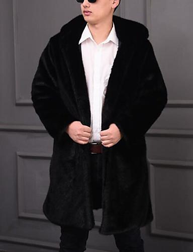 levne Pánská saka a kabáty-Pánské Dovolená / Práce Šik ven / Punk & Gothic Zima / Podzim zima Dlouhé Faux Fur Coat, Jednobarevné Kapuce Dlouhý rukáv Umělá kožešina Černá