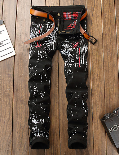 cheap Men's Pants & Shorts-Men's Street chic / Punk & Gothic Chinos Pants - Print Black US32 / UK32 / EU40 US34 / UK34 / EU42 US36 / UK36 / EU44