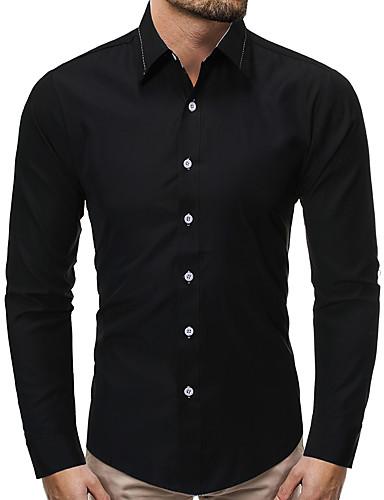 voordelige Herenoverhemden-Heren Zakelijk Overhemd Effen Zwart
