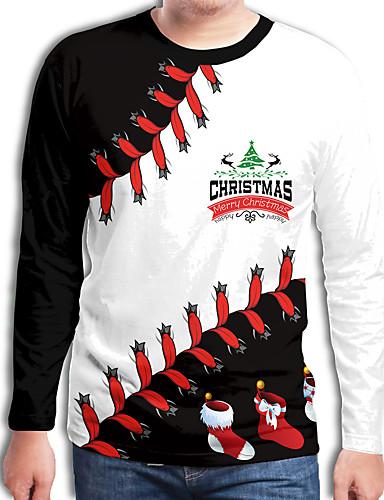 preiswerte Weihnachten-Herrn Einfarbig / 3D / Cartoon Design - Street Schick / Punk & Gothic T-shirt Druck Weihnachtsmann Regenbogen