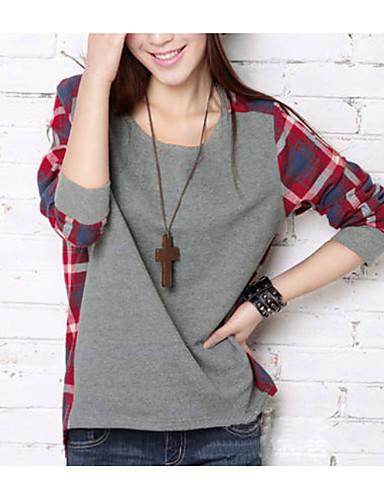 billige T-skjorter til damer-T-skjorte Dame - Ruter, Lapper Gatemote Grå