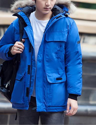 levne Pánské kabáty a parky-Pánské Jednobarevné Dlouhý kabát, Polyester Černá / Námořnická modř / Rubínově červená US34 / UK34 / EU42 / US36 / UK36 / EU44 / US38 / UK38 / EU46