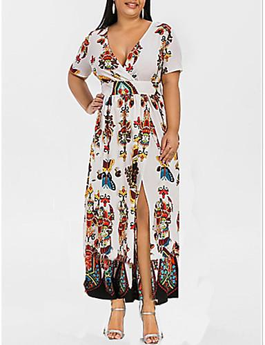 voordelige Grote maten jurken-Dames Grote maten Strand Sexy Wijd uitlopend Jurk - Bloemen, Split Print Diepe V-hals Maxi Hoge taille / Hoge taille