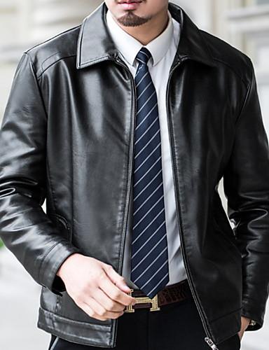 levne Pánské módní oblečení-Pánské Denní Standardní Deri Ceketler, Jednobarevné Košilový límec Dlouhý rukáv Umělá kůže Černá / Hnědá