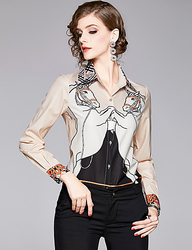 billige Skjorter til damer-Skjorte Dame - Dyr / Bokstaver, Trykt mønster Elegant Beige