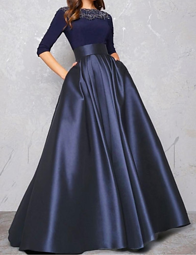 cheap Evening Dresses-Ball Gown Minimalist Blue Quinceanera Formal Evening Dress Illusion Neck Half Sleeve Floor Length Satin with Pleats Lace Insert 2020