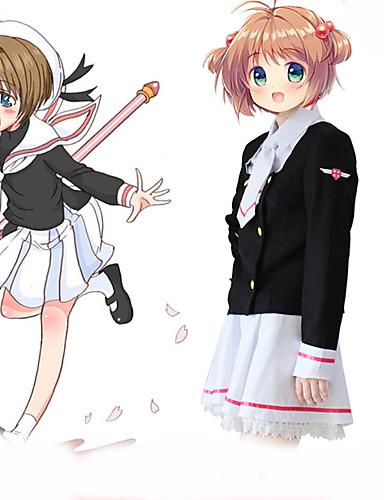 povoljno Anime cosplay-Inspirirana Cardcaptor Sakura Cosplay Anime Cosplay nošnje Japanski Cosplay Suits Kaput / Haljina / Čarape Za Žene / Leptir mašna