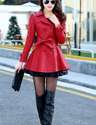 preiswerte Damen Trenchcoats-Damen Alltag Grundlegend Herbst Winter Lang Trench Coat, Solide Umlegekragen Langarm PU Schwarz / Rote