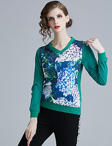 billige Skjorter til damer-Skjorte Dame - Blomstret, Trykt mønster Grunnleggende Blå Grønn