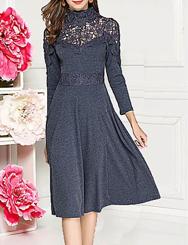 Жен. С летящей юбкой Платье - Однотонный Средней длины