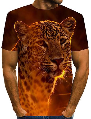 voordelige Heren T-shirts & tanktops-Heren Vintage / Rock Print T-shirt Luipaard / 3D / dier Leeuw Bruin