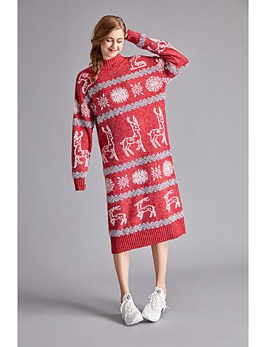preiswerte Kitschige Weihnachtspullis-Damen Weihnachten Einfarbig / Solide Langarm Schlank Pullover Pullover Jumper, Rundhalsausschnitt Herbst / Winter Baumwolle Blau / Rote Einheitsgröße