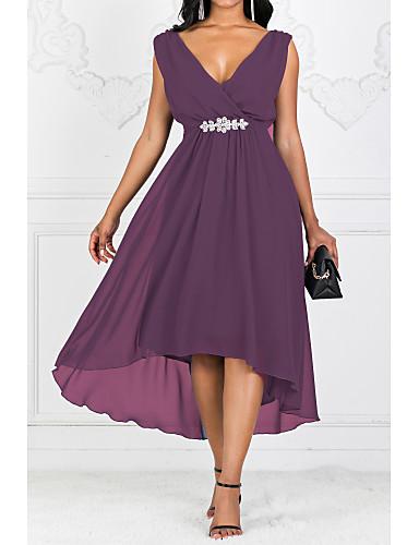 voordelige Maxi-jurken-Dames Solide Kleuren A-lijn Jurk - Effen V-hals Maxi / Grote maten