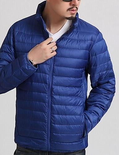 levne Pánské kabáty a parky-Pánské Jednobarevné S vycpávkou, Polyester Černá / Fialová / Námořnická modř US32 / UK32 / EU40 / US34 / UK34 / EU42 / US36 / UK36 / EU44