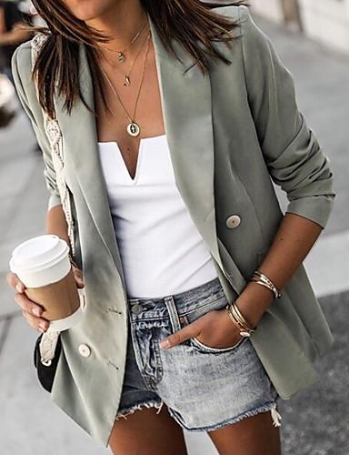 Недорогие Верхняя одежда-Жен. Блейзер Лацкан с тупым углом Полиэстер Черный / Винный / Светло-зеленый