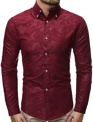 levne Pánské košile-Pánské - Geometrický Košile Černá