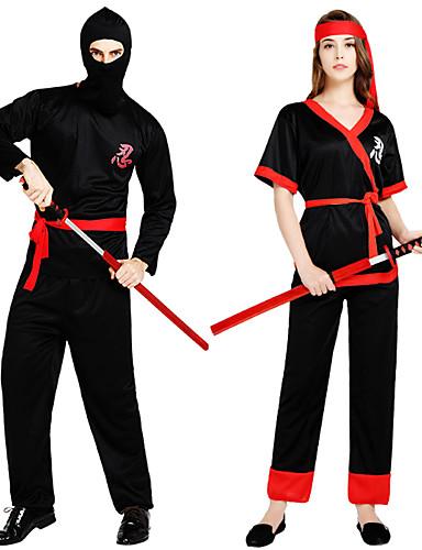 preiswerte Herrenbekleidung-Ninja Cosplay Kostüme Austattungen Erwachsene Paar Cosplay Halloween Halloween Fest / Feiertage Polyester Schwarz / Rote Paar Karneval Kostüme