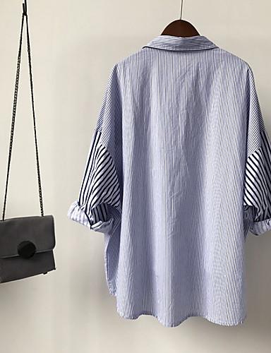 billige Dametopper-Skjorte Dame - Stripet, Lapper overdrevet BLå & Hvit Svart