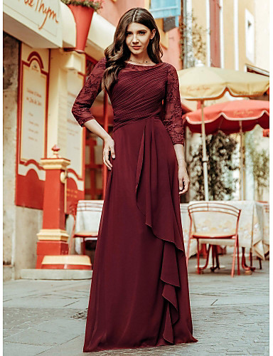 cheap Special Occasion Dresses-A-Line Elegant Empire Prom Formal Evening Dress Jewel Neck 3/4 Length Sleeve Floor Length Chiffon Lace with Draping Lace Insert 2020