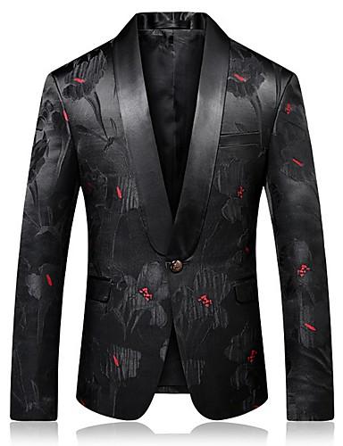 levne Pánské módní oblečení-Pánské Blejzr Klasické klopy Polyester Černá