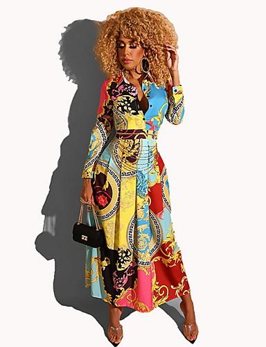 levne Maxi šaty-Dámské Elegantní A Line Šaty - Geometrický Maxi