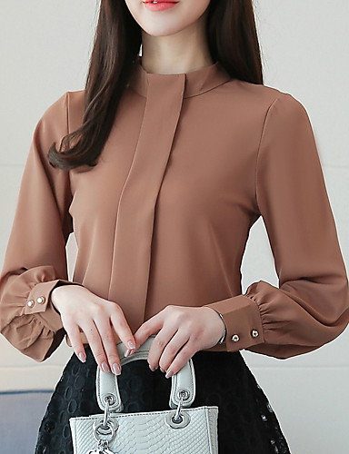 cheap Women's Tops-Women's Solid Colored Loose Blouse - Cotton Basic Daily Wine / Black / Army Green / Khaki / Green