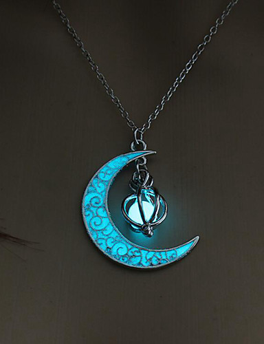 cheap Halloween Decoration-Halloween Party Halloween Decor Horror Ghost Moon Glowing Necklace Gem Charm Jewelry Silver Plated Women Halloween Pendant Hollow Luminous Stone Pendant Necklace Gifts