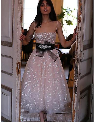 Жен. Шифон Платье - Однотонный Средней длины