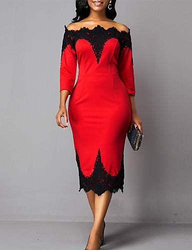 Жен. Оболочка Платье - Контрастных цветов, Кружева Средней длины