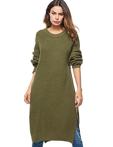 billige Dametopper-Dame Ensfarget Langermet Løstsittende Pullover Genserjumper, Rund hals Svart / Rosa / Militærgrønn En Størrelse