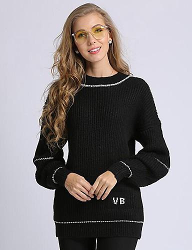 billige Dametopper-Dame Ensfarget Langermet Pullover Genserjumper, Rund hals Svart / Hvit / Grå En Størrelse