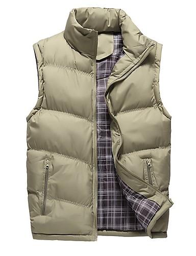 levne Pánské kabáty a parky-Pánské Jednobarevné Kamizelka, Polyester Černá / Armádní zelená / Námořnická modř US32 / UK32 / EU40 / US36 / UK36 / EU44