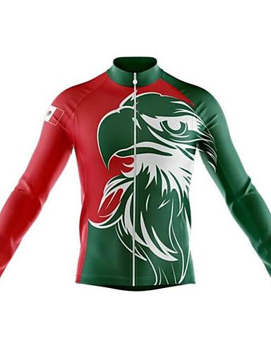 povoljno Odjeća za vožnju biciklom-21Grams Meksiko Državne zastave Muškarci Dugih rukava Biciklistička majica - Zelen Bicikl Biciklistička majica Majice Ugrijati UV otporan Prozračnost Sportski Zima 100% poliester Brdski biciklizam
