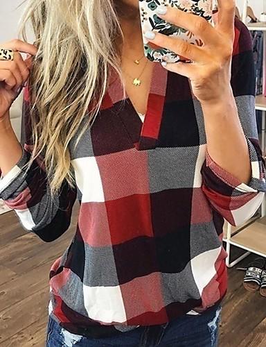 billige Skjorter til damer-V-hals Store størrelser Skjorte Dame - Ruter Blå