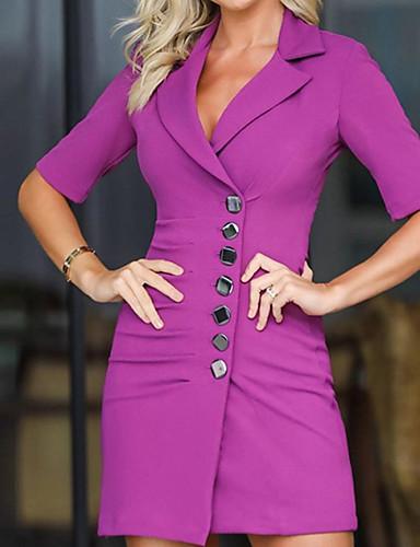 levne Pracovní šaty-Dámské Základní Pouzdro Šaty - Jednobarevné Mini