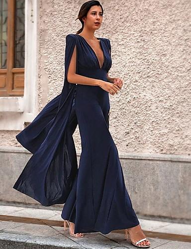 billige Dametopper-Dame Navyblå Kjeledresser, Ensfarget S M L