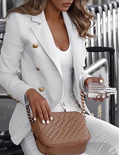 cheap Women's Outerwear-Women's Blazer Notch Lapel Polyester Black / White / Blue