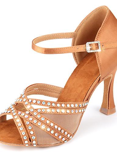 preiswerte Lateinamerikanischer Tanz-Damen Tanzschuhe Satin Schuhe für den lateinamerikanischen Tanz Glitter / Schnalle / Glitzer Absätze Keilabsatz Maßfertigung Knackmandel