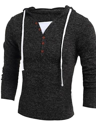 levne Pánská tílka-Pánské - Jednobarevné Základní / Elegantní Tričko Tmavě šedá